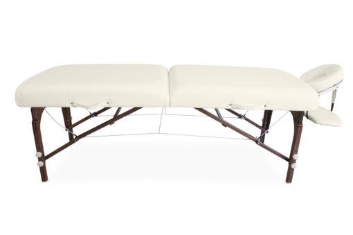 Łóżko premium kremowe - drewniane